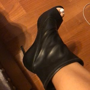 Schutz open-toe leather booties